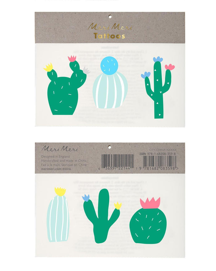 Little meri meri paper+party Cactus Tattoos