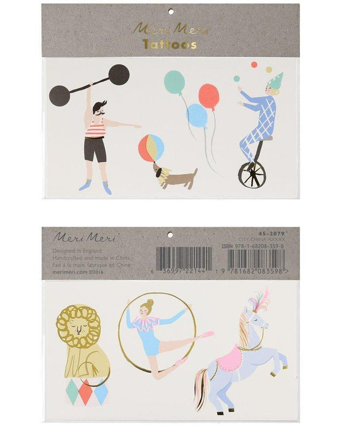 Little meri meri paper+party circus large tattoos