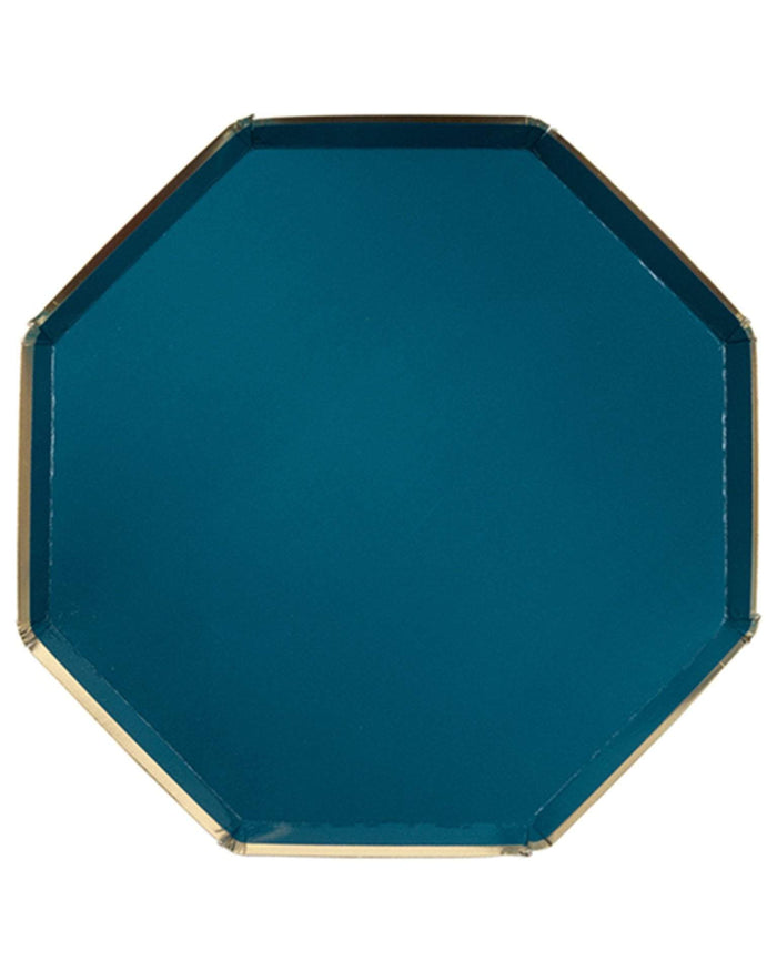 Little meri meri paper+party dark teal dinner plates