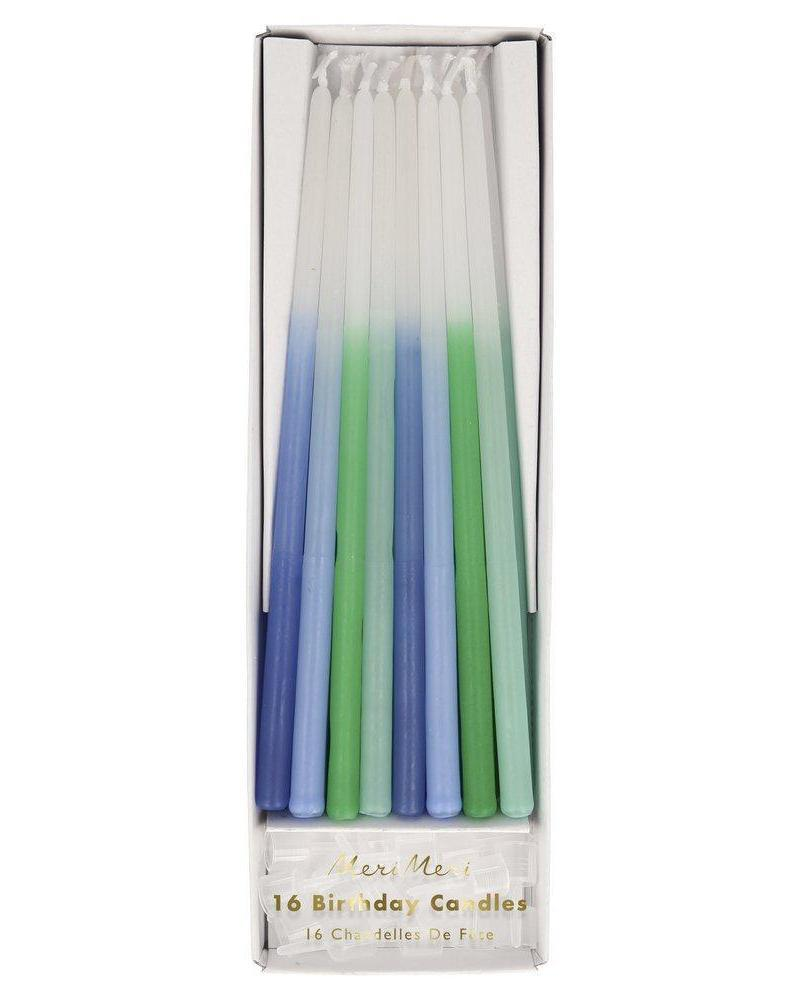 Little meri meri paper+party dipped tapered candles in blue
