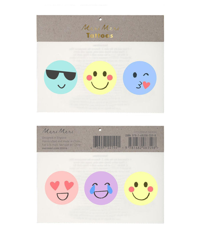 Little meri meri paper+party Emoji Tattoos