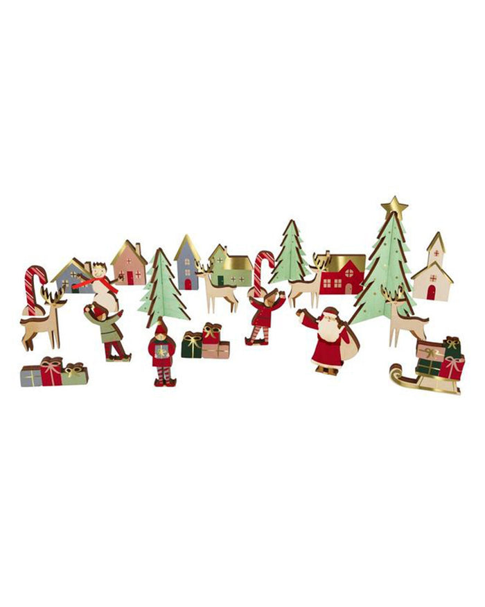 Little meri meri room festive village wooden advent calendar