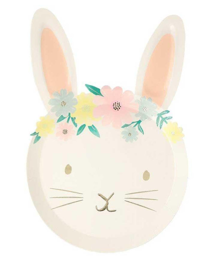Little meri meri paper+party floral bunny plates