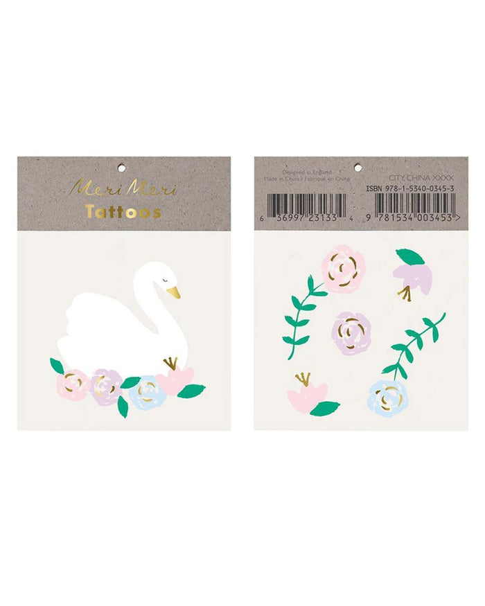 Little meri meri paper+party floral swan tattoo