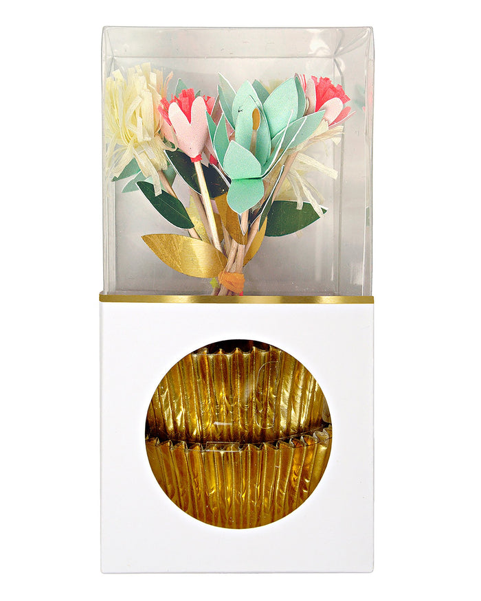 Little meri meri paper + party flower bouquet cupcake kit