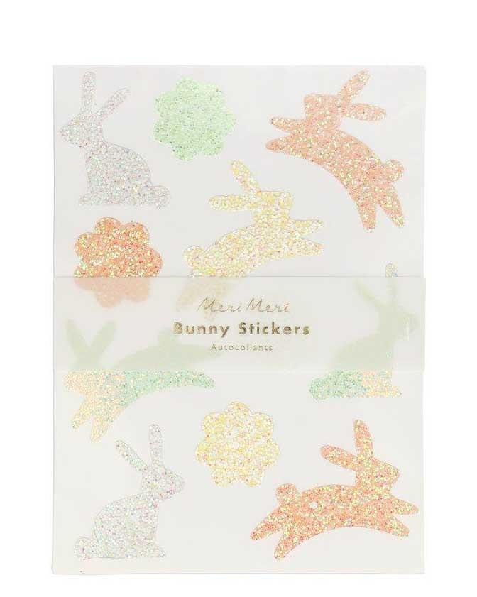 Little meri meri paper+party glitter bunny sticker sheets