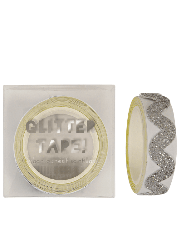 Little meri meri paper+party Glitter Chevron Tape in Silver
