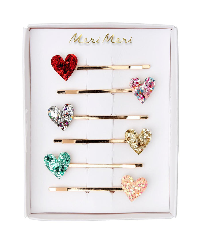 Little meri meri accessories glitter heart hair slides