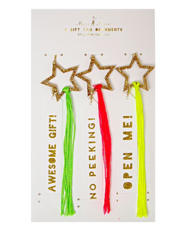 Little meri meri room Gold Glitter Star Ornament Gift Tags