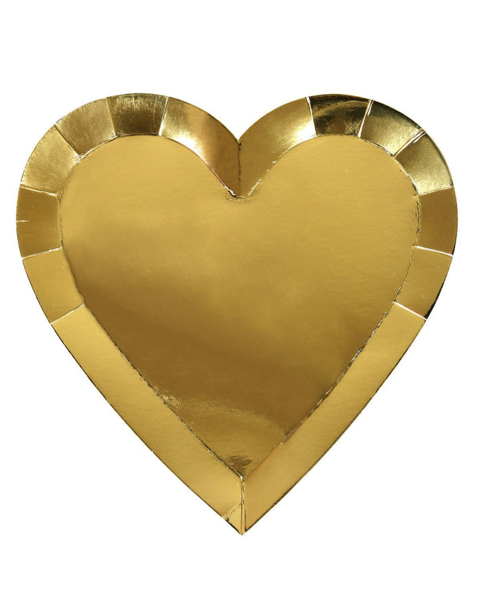 Little meri meri paper+party gold heart dinner plate