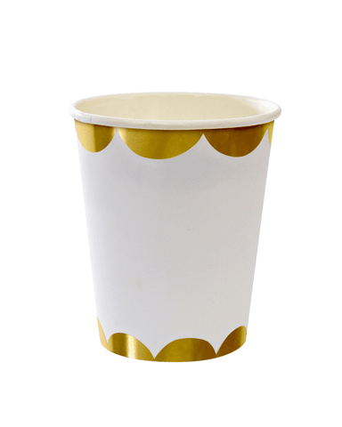 Little meri meri paper+party Gold Scallop Party Cups