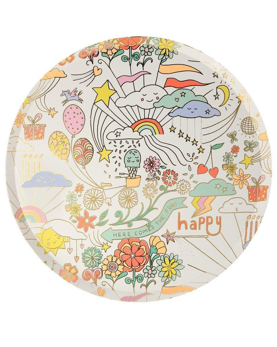 Little meri meri paper+party happy doodle dinner plates