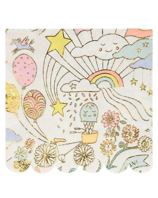 Little meri meri paper+party happy doodle small napkins