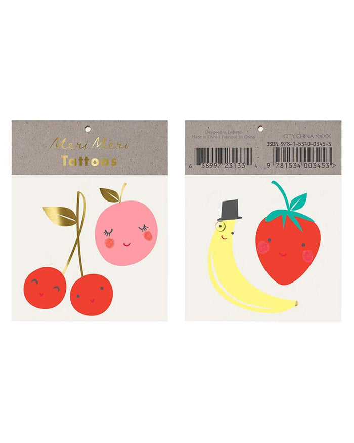 Little meri meri paper+party happy fruit tattoo