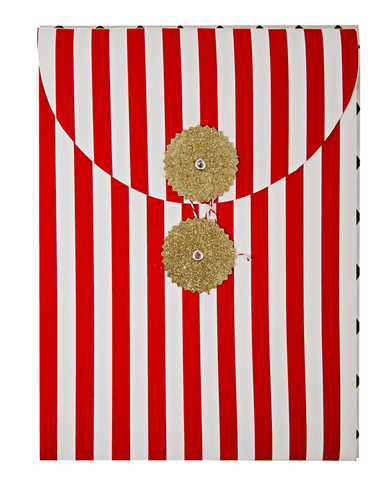Little meri meri paper+party Harlequin Envelope Bag in Red Stripe