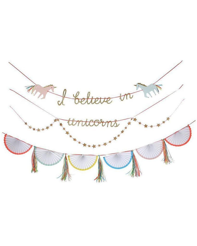 Little meri meri paper+party i believe in unicorns garland