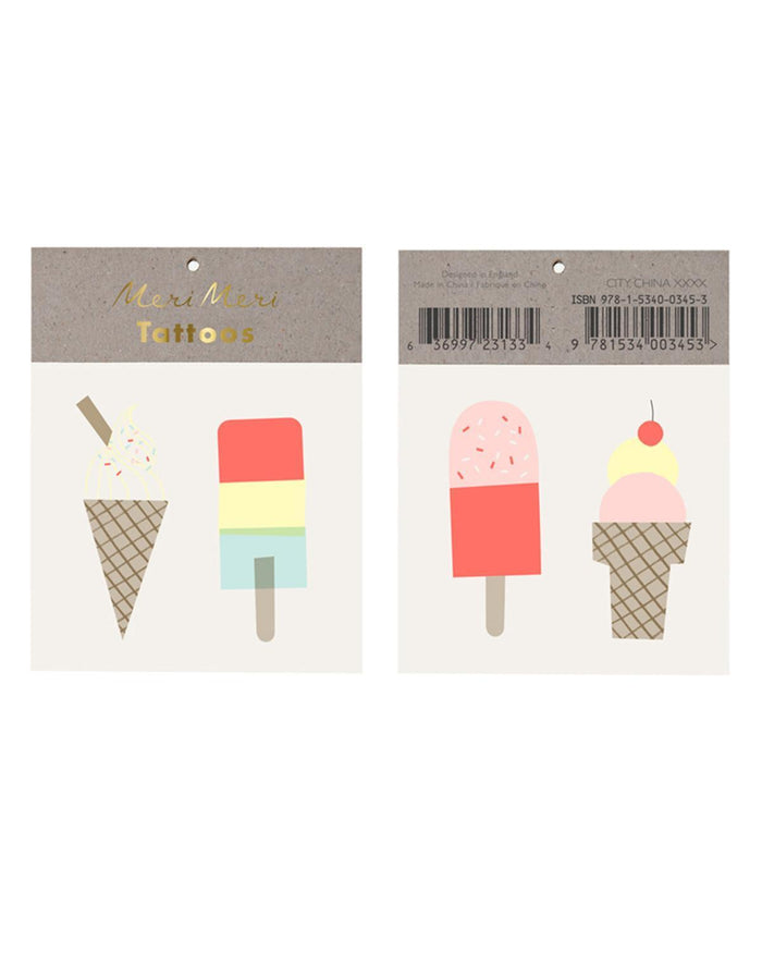 Little meri meri paper+party ice cream tattoos
