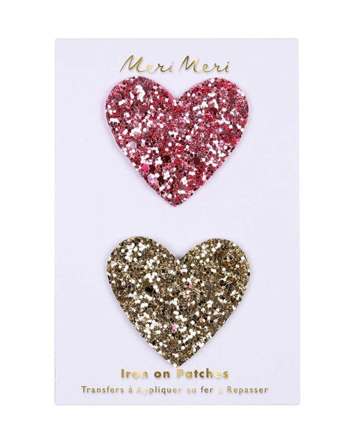 Little meri meri accessories iron on glitter hearts
