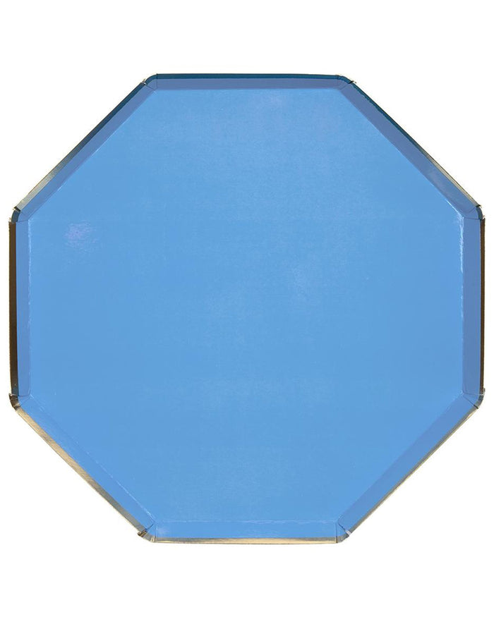 Little meri meri paper+party large blue octagonal plate