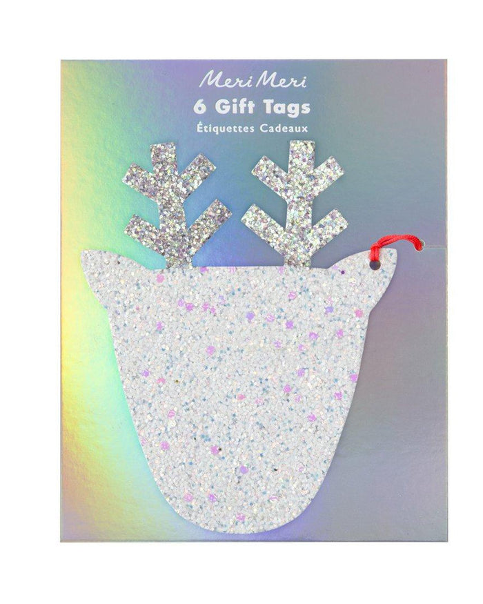 Little meri meri paper+party large glitter reindeer tags