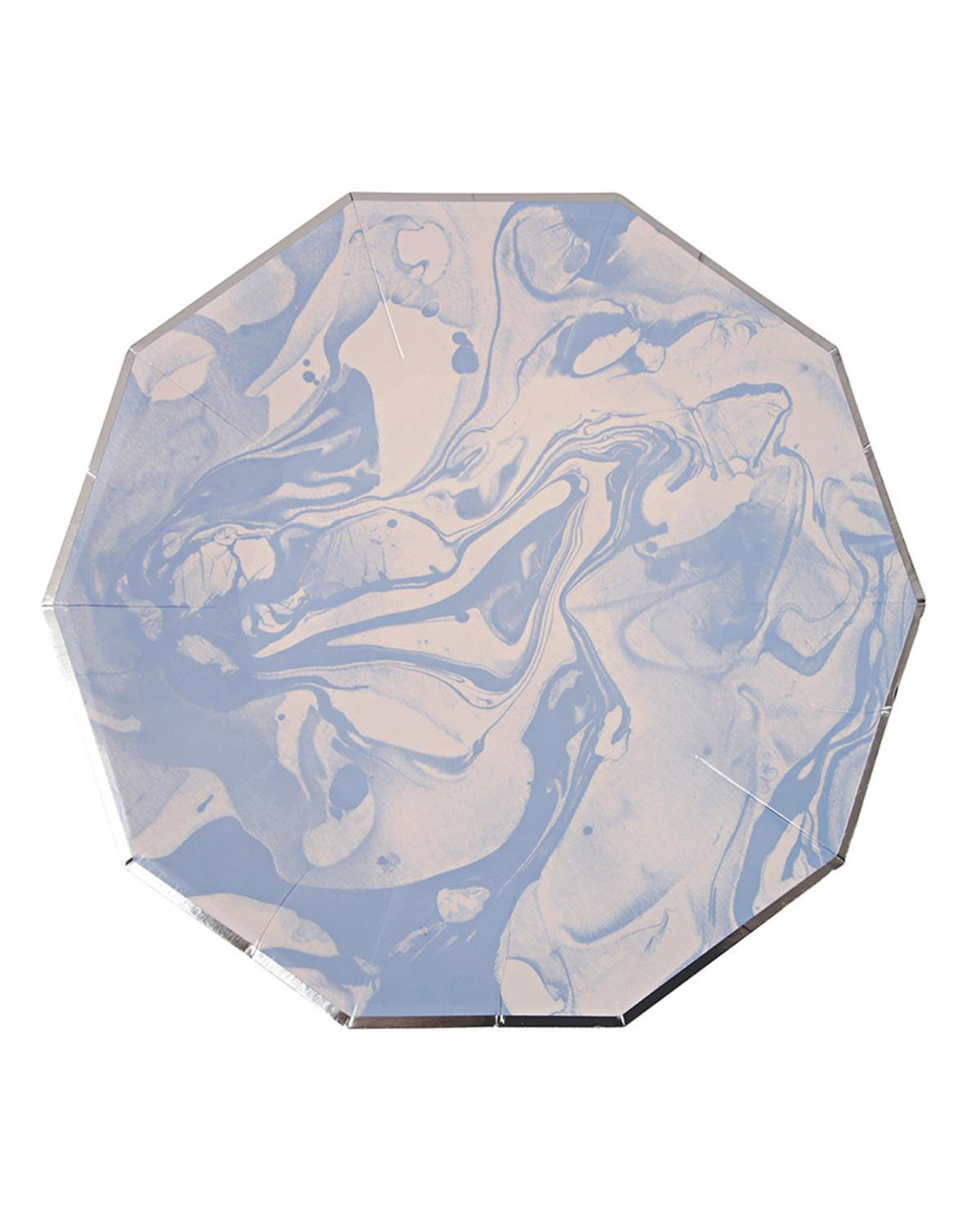 Little meri meri paper+party Large Marble Plates in Blue