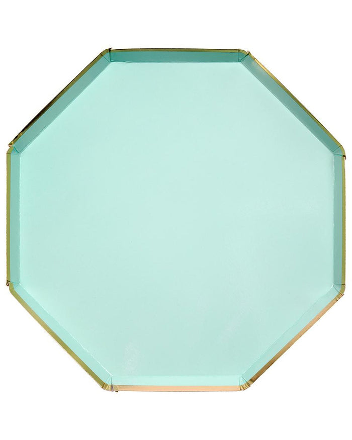 Little meri meri paper+party large mint octagonal plate