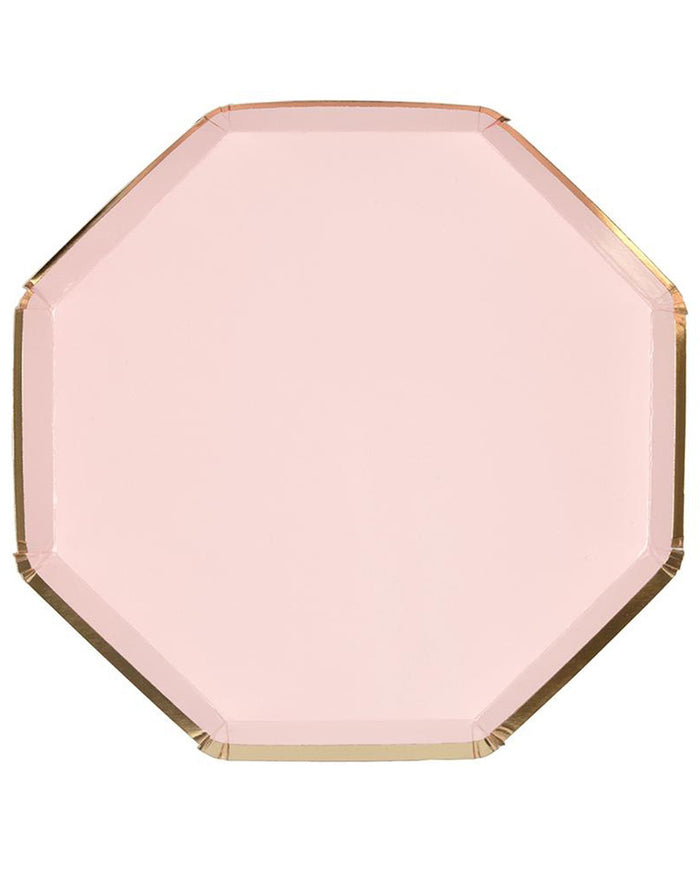 Little meri meri paper+party large pale pink octagonal plate
