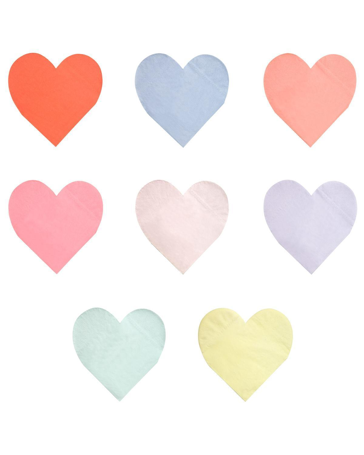 Little meri meri paper+party large pastel palette heart napkin