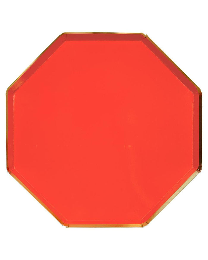 Little meri meri paper+party large red octagonal plate