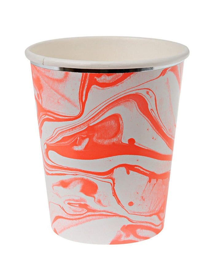 Little meri meri paper+party Marble Cups in Neon Orange