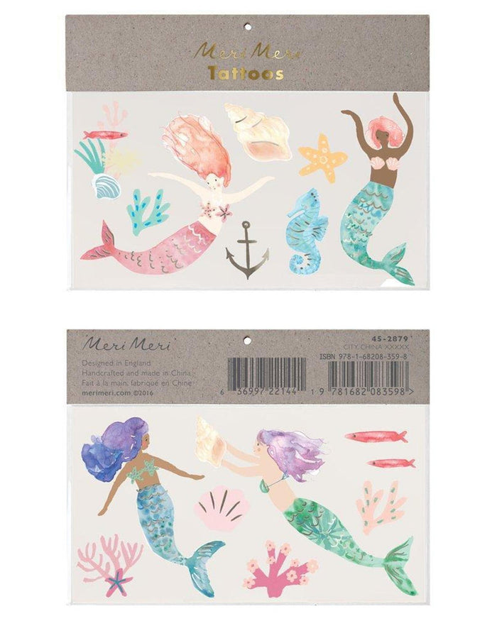 Little meri meri paper + party mermaid large tattoos