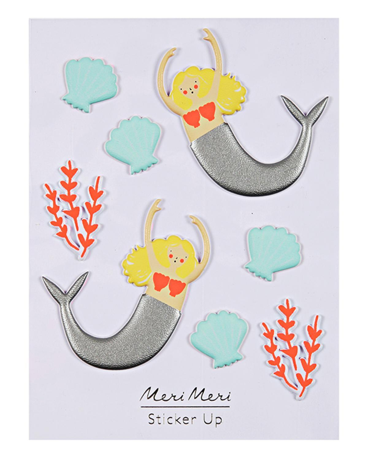 Little meri meri paper+party Mermaid Puffy Stickers