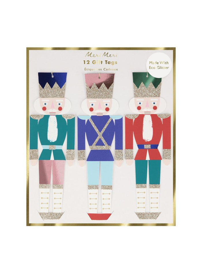 Little meri meri paper+party metallic nutcracker gift tags