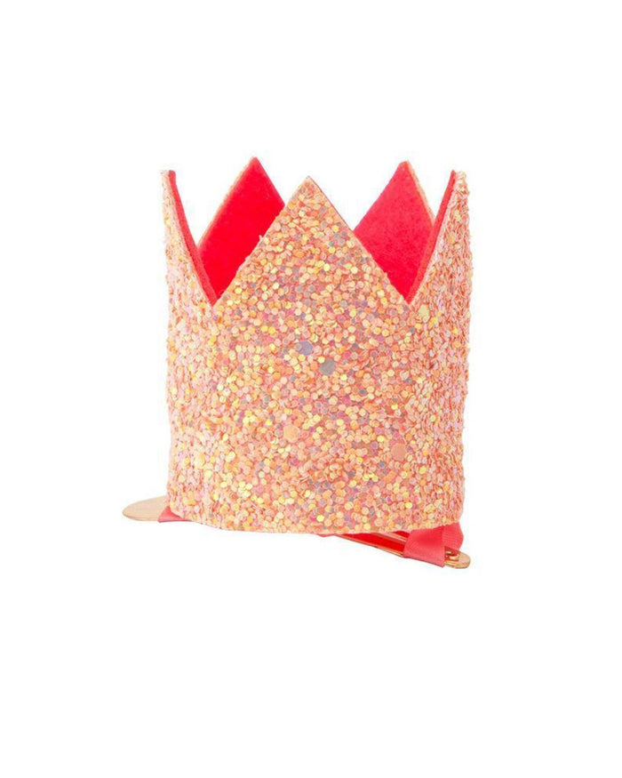 mini pink glitter crown clip