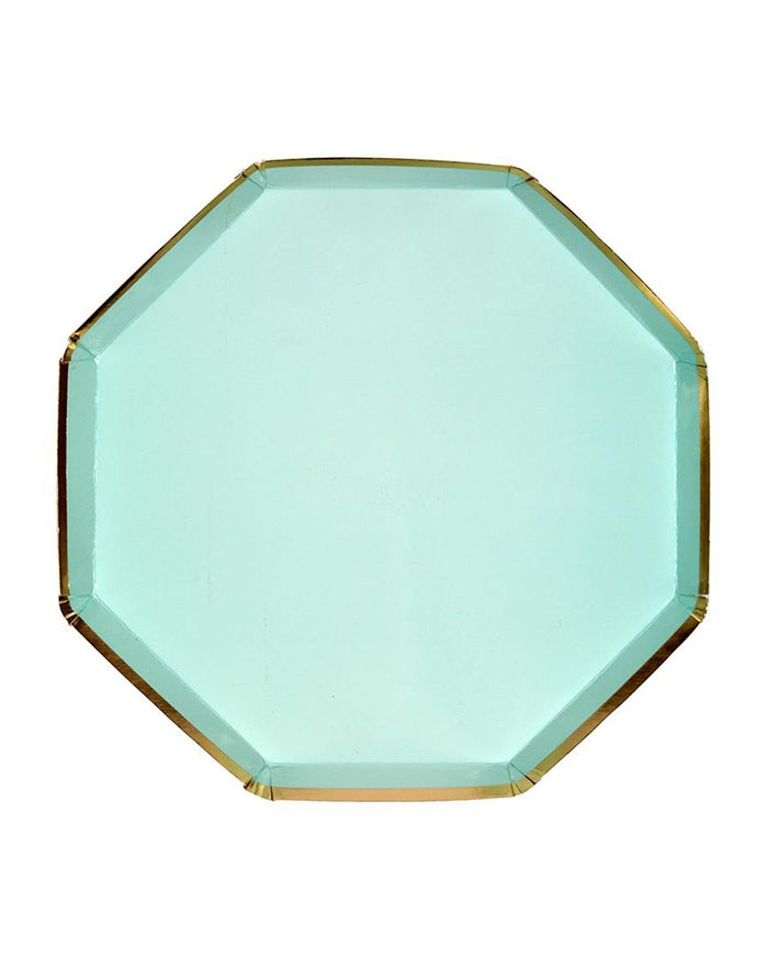 Little meri meri paper+party mint small octagonal plate