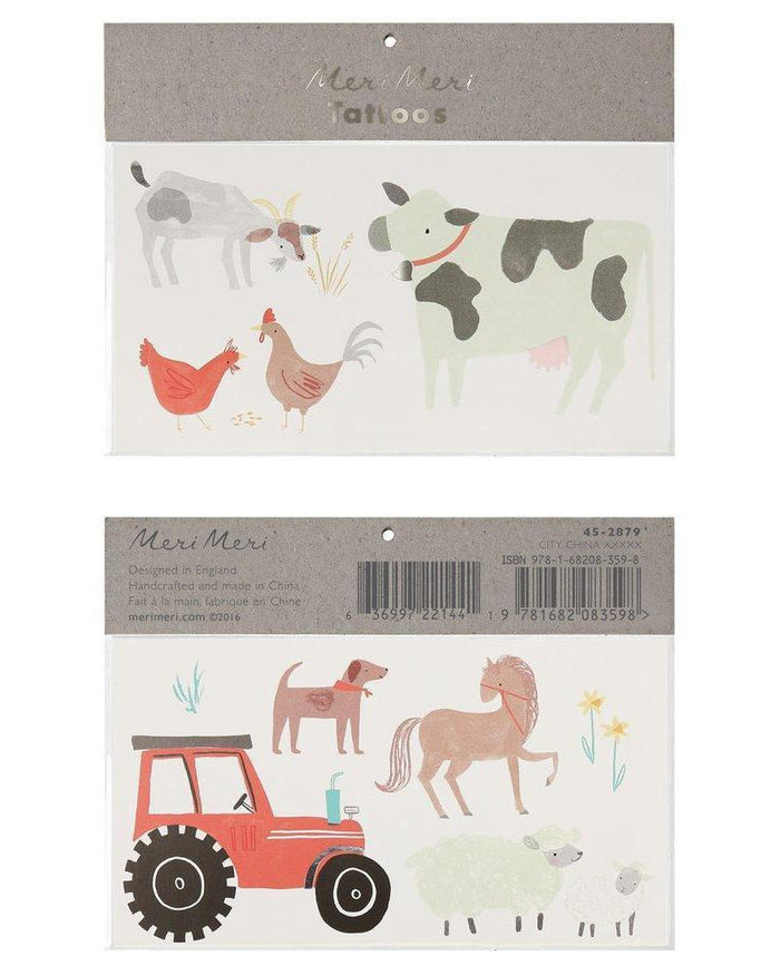 Little meri meri paper+party on the farm large tattoos