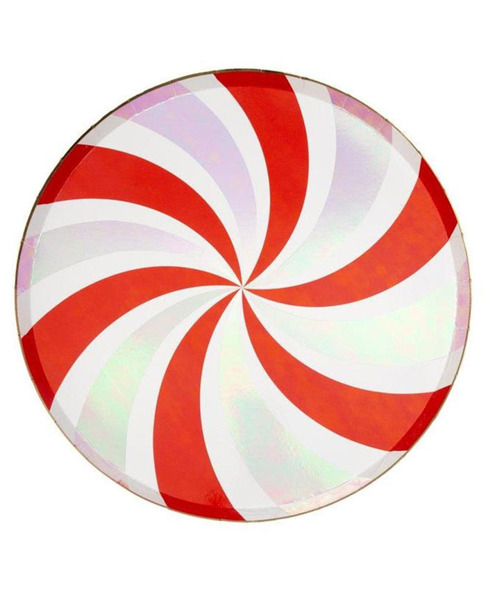 Little meri meri paper+party peppermint swirl dinner plate