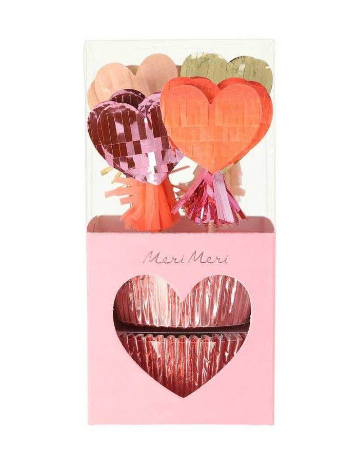 Little meri meri paper+party pinata hearts cupcake kit