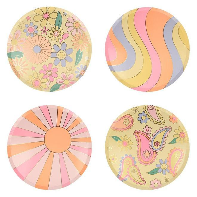 Little meri meri paper+party psychedelic 60's dinner plates