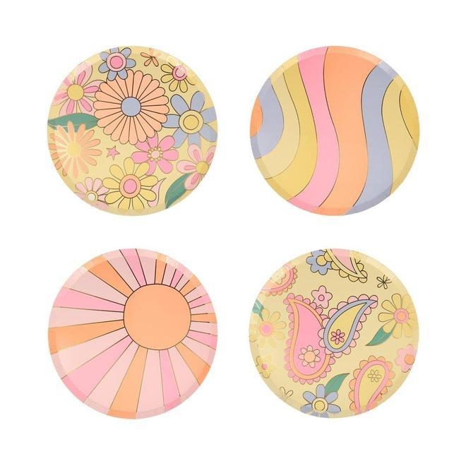 Little meri meri paper+party psychedelic 60's side plates