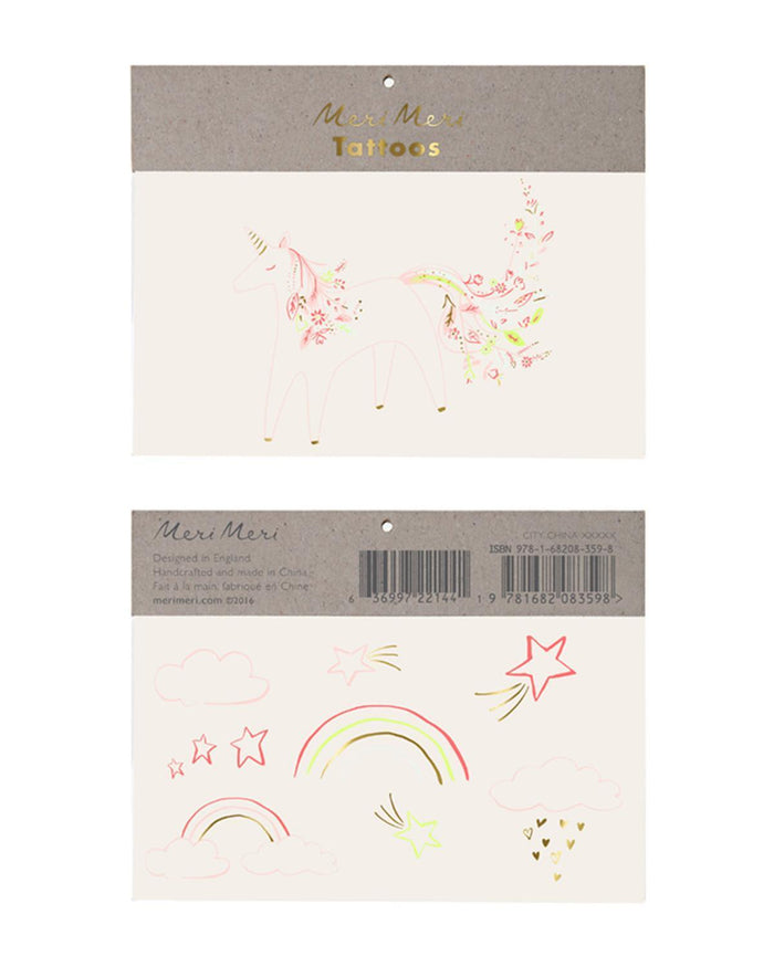 Little meri meri paper+party rainbow floral unicorn tattoo