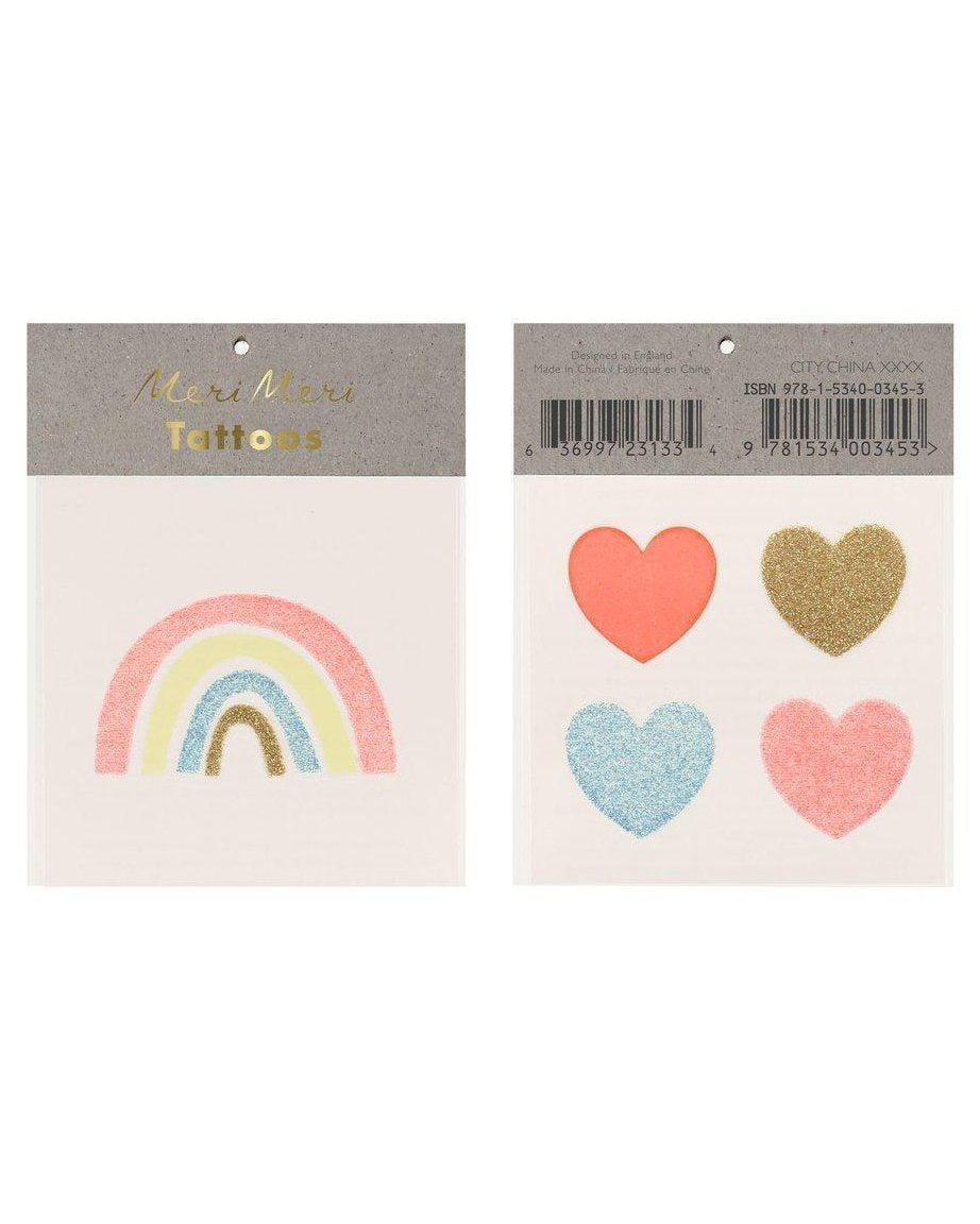 Little meri meri paper+party rainbow + hearts small tattoos