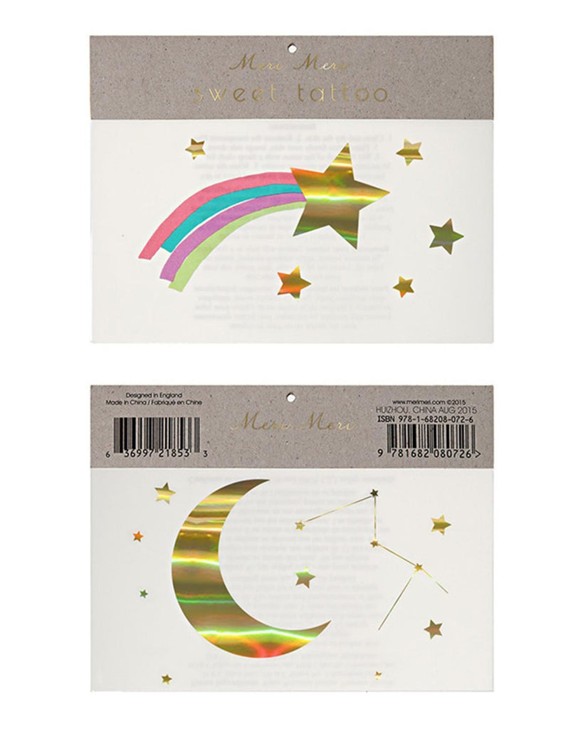 Little meri meri paper+party Rainbow Shooting Star Tattoos