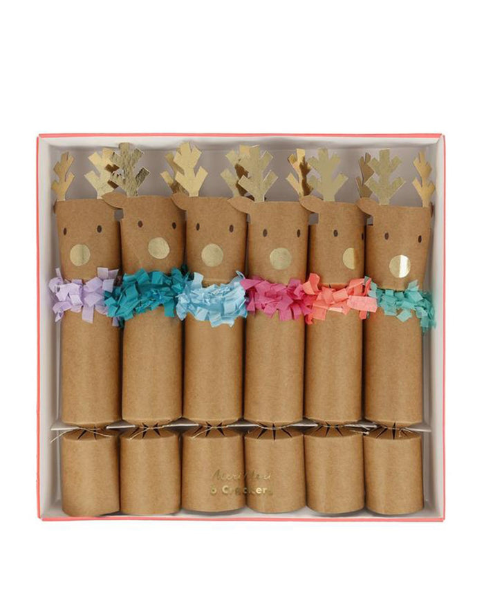 Little meri meri paper+party reindeer fringe medium crackers