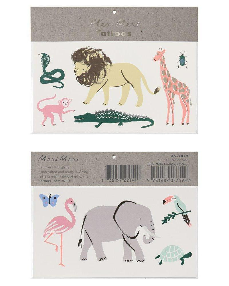 Little meri meri paper+party safari trek large tattoos