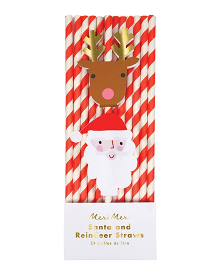 Little meri meri paper+party santa reindeer straws
