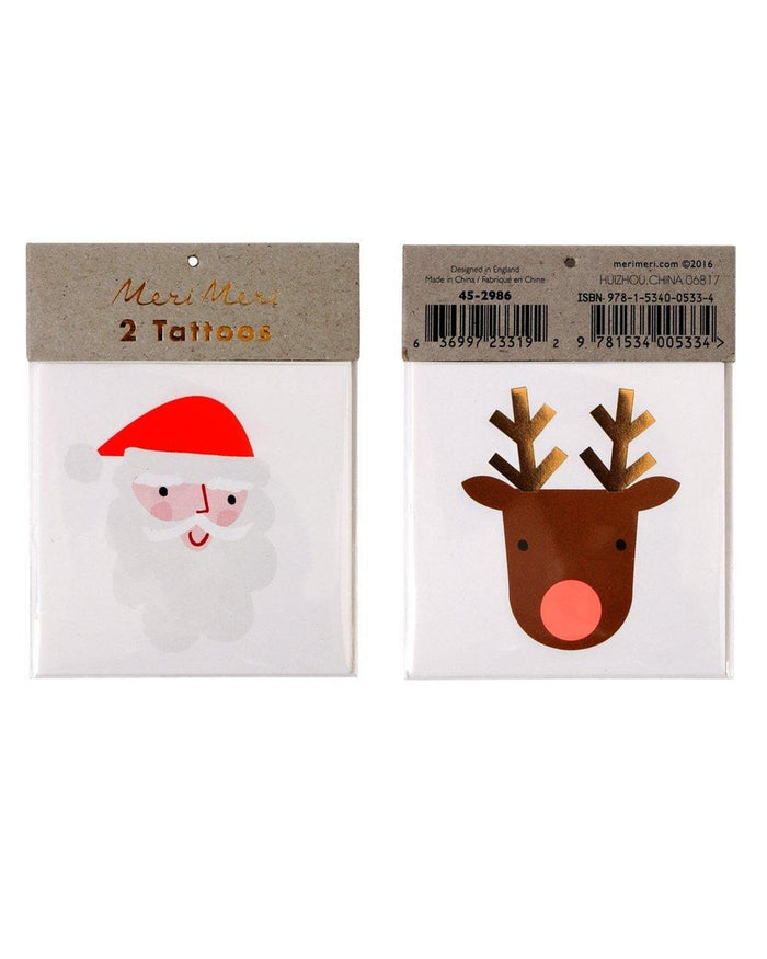 Little meri meri paper+party santa + reindeer tattoos