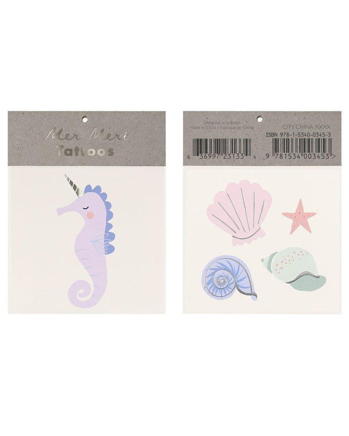Little meri meri paper+party seahorse + shell small tattoos