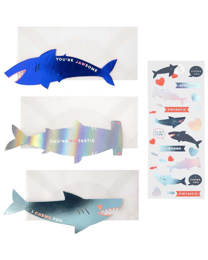 Little meri meri paper+party shark sticker valentine card set