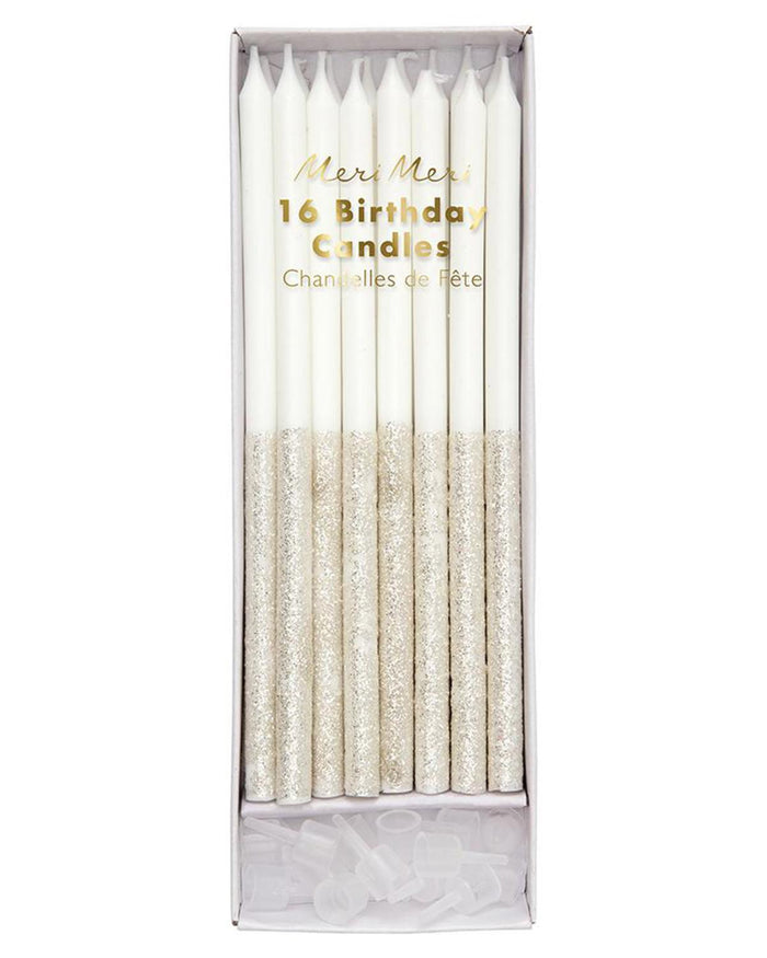 Little meri meri paper+party silver glitter dipped candles